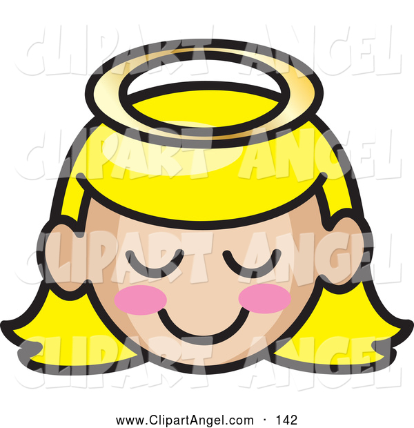 Illustration Vector of a Grinning Blond Angel Girl Face with Pink Cheeks