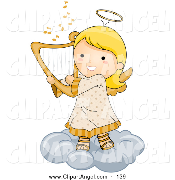Illustration Vector of a Grinning Cute Angel Girl Playing a Harp on a Cloud