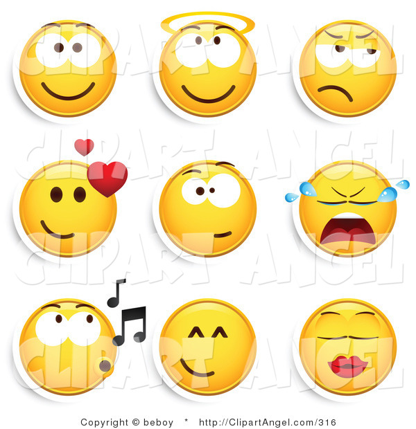 Illustration Vector of a Group of Nine Smiling, Angelic, Grumpy, Infatuated, Crying, Whistling and Kissing Yellow Emoticon Faces