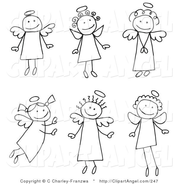 Illustration Vector of a Group of Six Different Stick Figure Angels with Halos on White