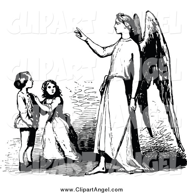 Illustration Vector of a Guardian Angel and Children