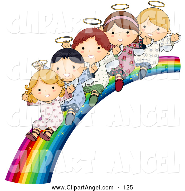 Illustration Vector of a Happy Group of Cute Angels Waving and Riding down a Rainbow Slide