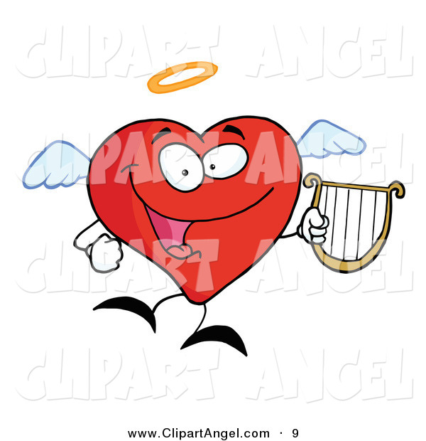 Illustration Vector of a Happy Red Heart Angel Character Flying with a Lyre