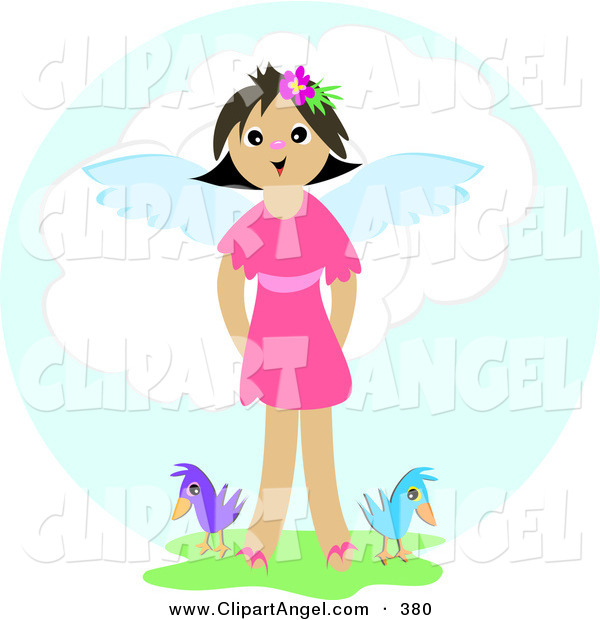 Illustration Vector of a Happy Smiling Angel Girl Standing in Grass with Two Birds in Heaven