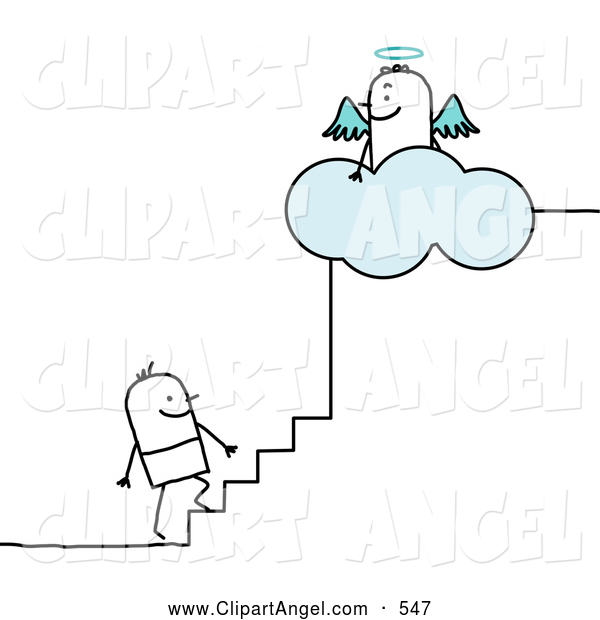 Illustration Vector of a Happy Stick Person Man Climbing the Steps to Heaven