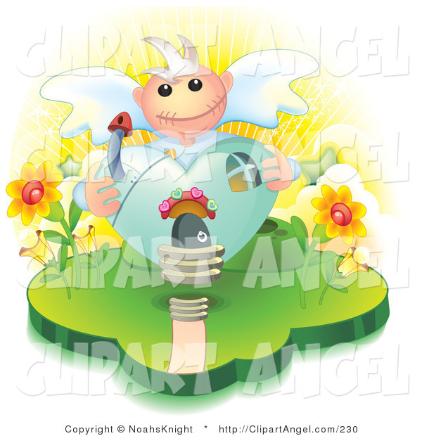 Illustration Vector of a Heart Shaped Angelic House with a Mushroom Chimney and Flowers on the Sides