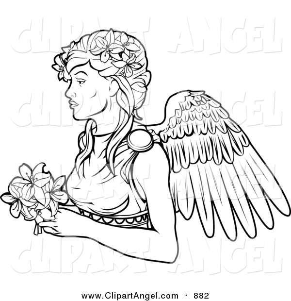 Illustration Vector of a Lineart Virgo Virgin Zodiac Astrology Sign
