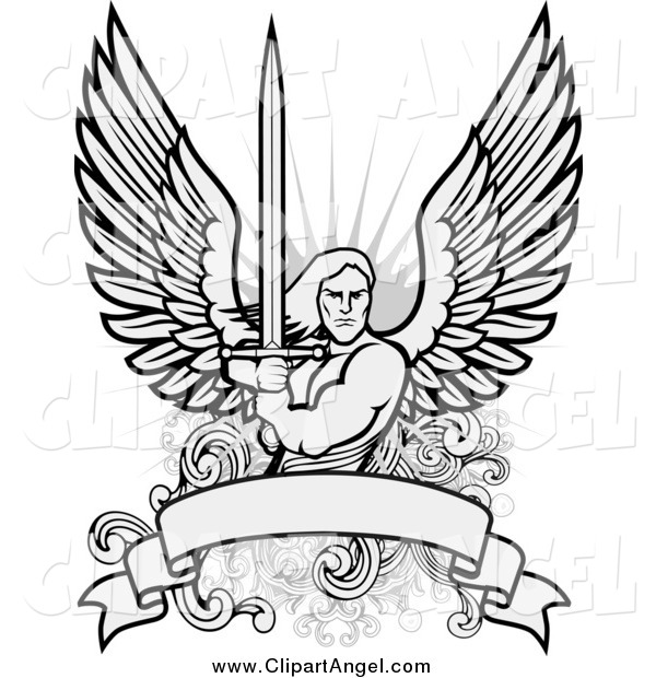 Illustration Vector of a Male Angel Warrior with a Sword over a Blank Banner