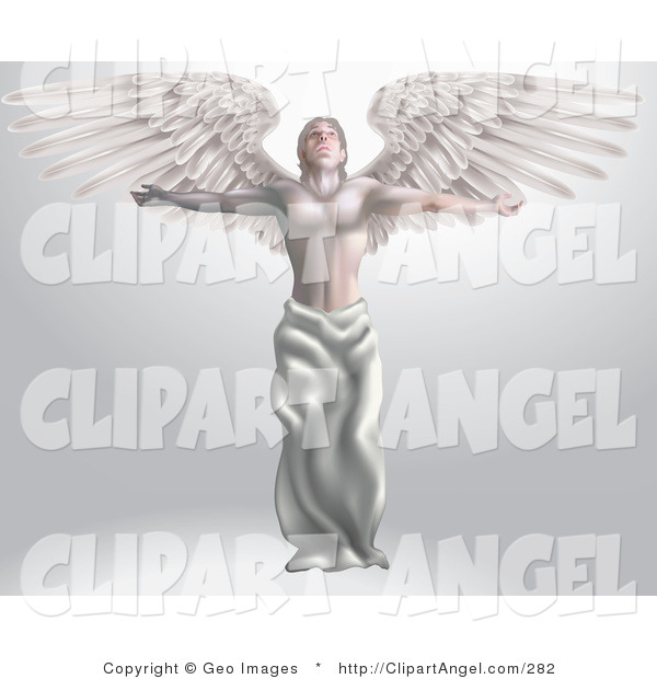 Illustration Vector of a Marvelous Male Guardian Archangel with Arms and Wings Stretched Out, Looking up at Heaven