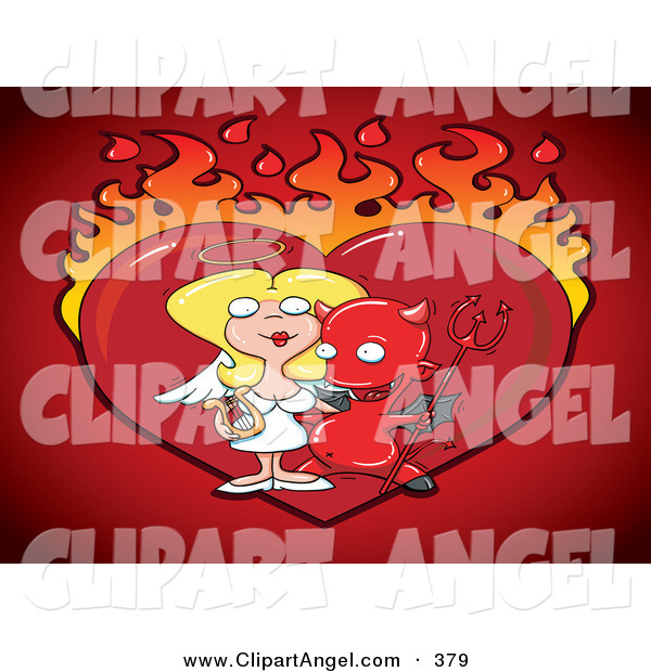 Illustration Vector of a Naughty Devil with His Angelic Girlfriend, in Front of a Flaming Heart