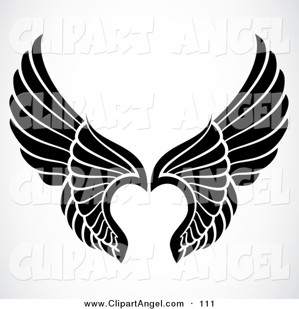 Illustration Vector of a Pair of Black and White Elegant Angel Wings on White