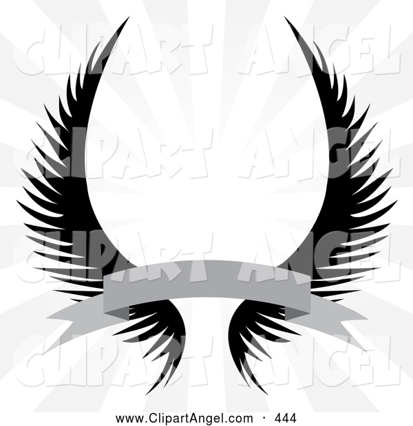 Illustration Vector of a Pair of Gothic Angel Wings with a Banner over a Silver Rays