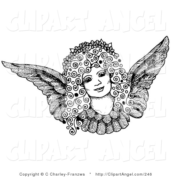 Illustration Vector of a Pen and Ink Drawing of a Pretty Female Angel Face with Curly Hair and a Floral Wreath on Her Head