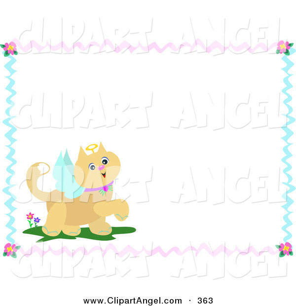 Illustration Vector of a Prancing Brown Angel Cat with Text Space, Bordered with Ribbons and Flowers