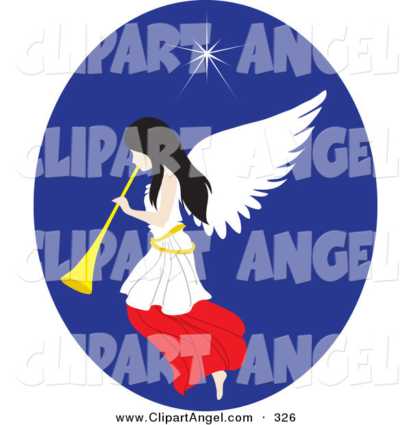 Illustration Vector of a Pretty White Christmas Angel with a Horn, Under the North Star