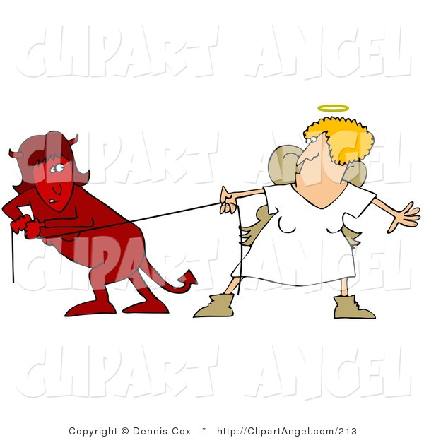 Illustration Vector of a Red Evil Devil Female in a Fight of Tug of War with a Good Angel Woman