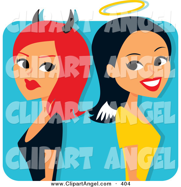 Illustration Vector of a Red Haired She Devil Standing Back to Back with a Smiling Angelic Woman on White