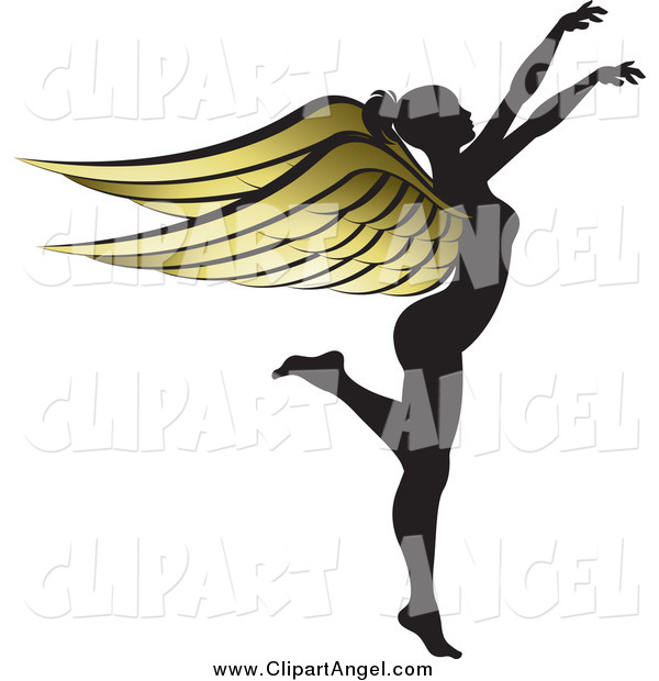 Illustration Vector of a Silhouetted Angel Woman with Golden Wings