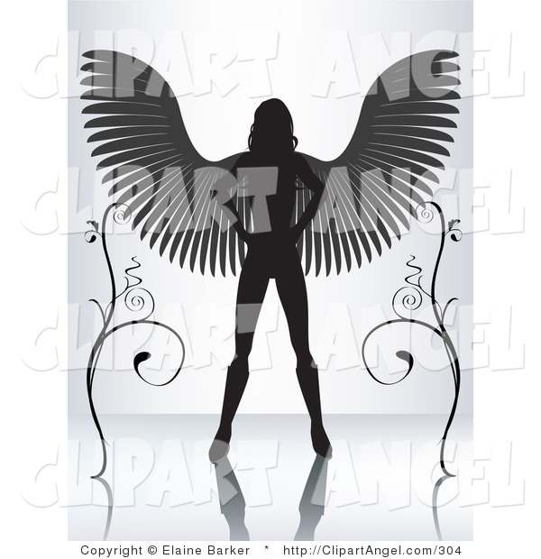 Illustration Vector of a Silhouetted Female Angel Standing with Her Hands on Her Hips and Wings Spanned Between Two Vines on a Reflective Surface