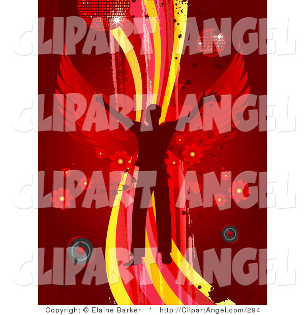Illustration Vector of a Silhouetted Man with Red Wings, Dancing on a Wave of Yellow, Pink and Red on a Red Background with Splatters, Speakers, Flowers and Disco Balls or Orbs