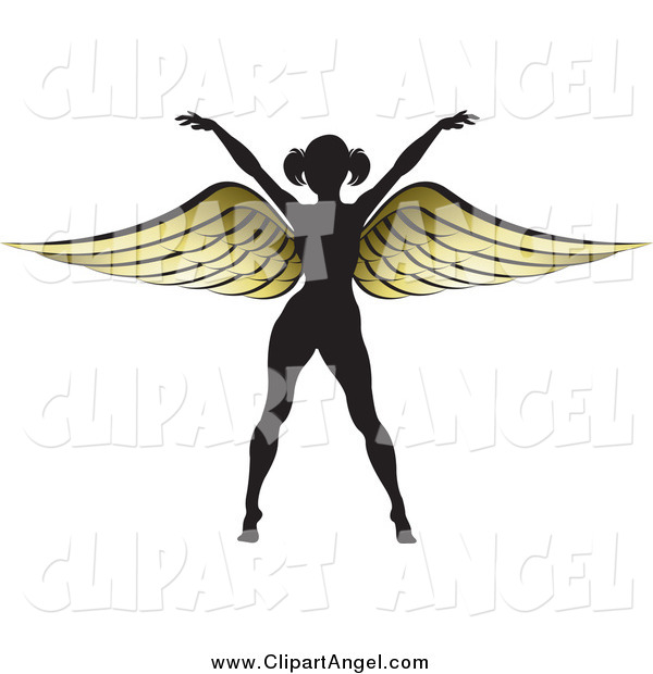 Illustration Vector of a Silhouetted Woman with Gold Wings