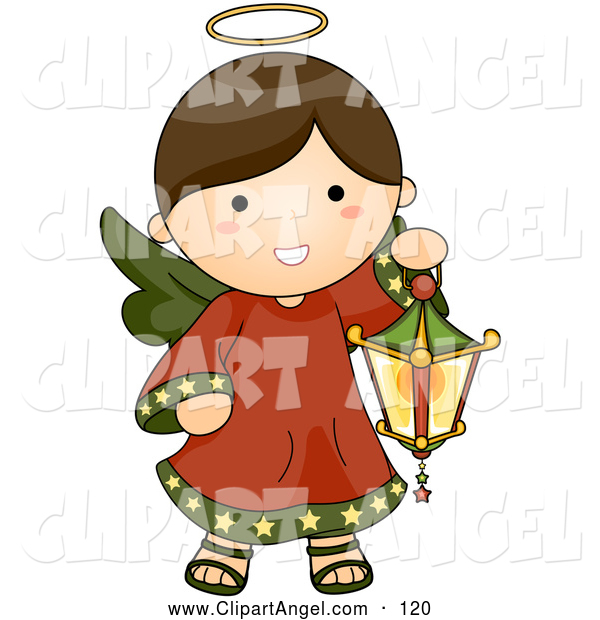 Illustration Vector of a Smiling Cute Brunette Christmas Angel Carrying a Lantern