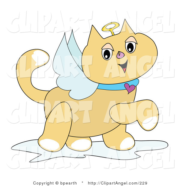 Illustration Vector of a Smiling Winged Angel Cat with a Golden Halo and Heart Collar, Prancing by