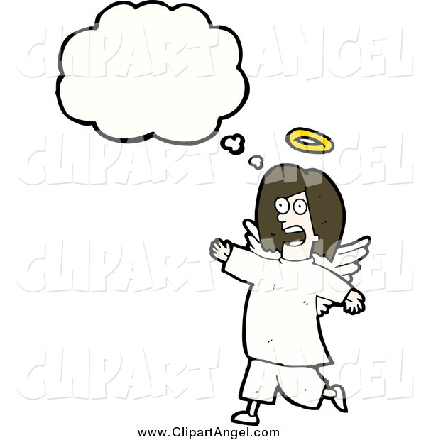 Illustration Vector of a Thinking Angel