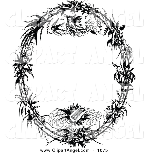 Illustration Vector of a Vintage Black and White Angel and Lyre Oval Frame