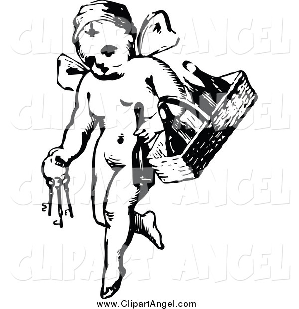 Illustration Vector of a Vintage Black and White Angel with Keys and a Wine Basket