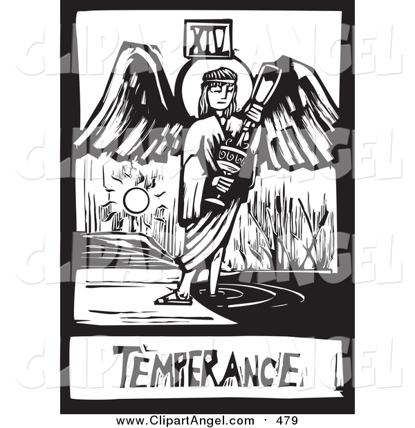 Illustration Vector of a Woodcut Black and White Temperance Angel Tarot Card