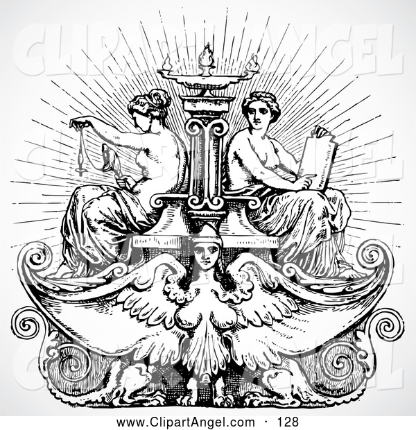 Illustration Vector of ABlack and White Victorian Female Angel and Maiden Fountain