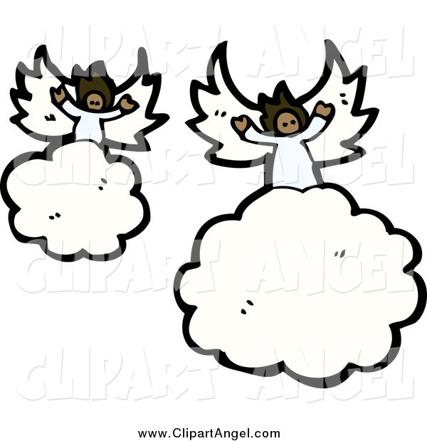 Illustration Vector of African American Angels Floating on Clouds