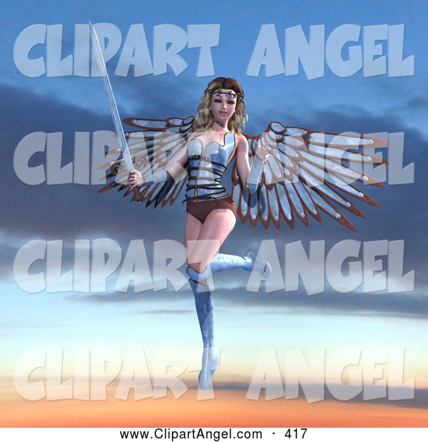 Illustration Vector of an 3d Female Guardian Angel with a Sword