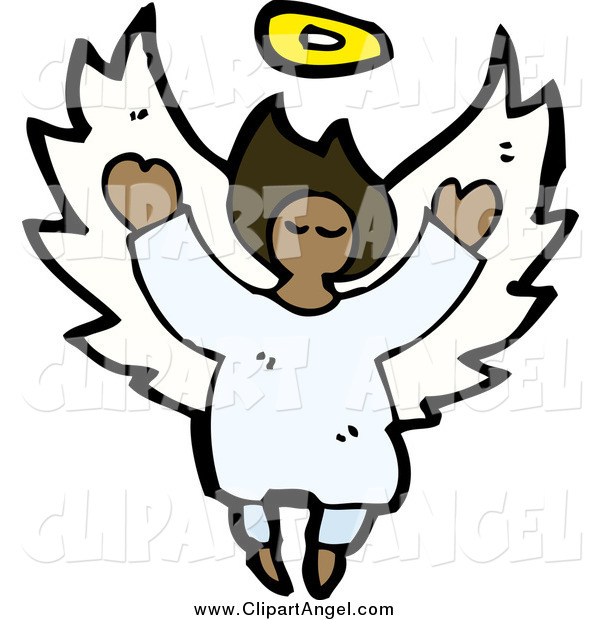 Illustration Vector of an African American Angel Flying