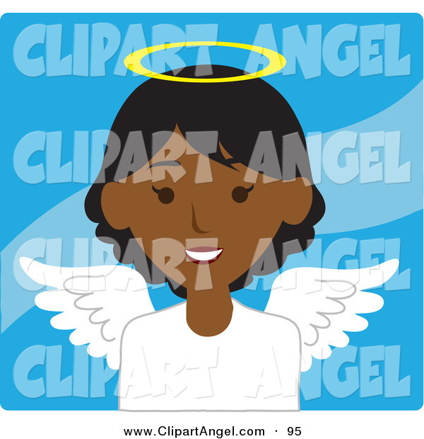Illustration Vector of an African American Female Avatar Angel over Blue