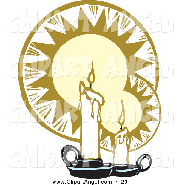 Illustration Vector of an Angelic Pair of Melting White Wax Candles