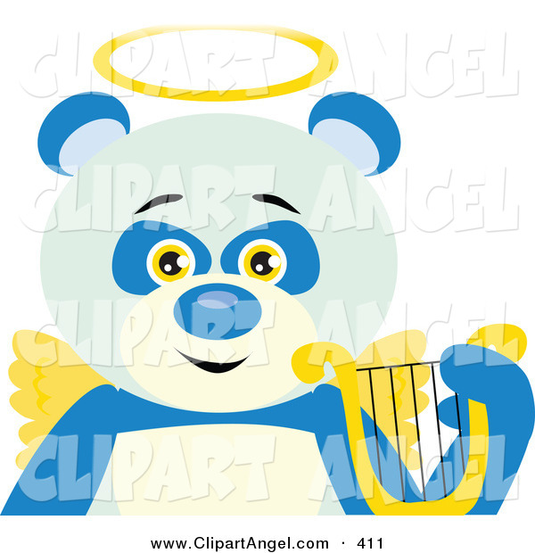 Illustration Vector of an Angelic Panda Bear with Golden Wings and a Halo and Lyre