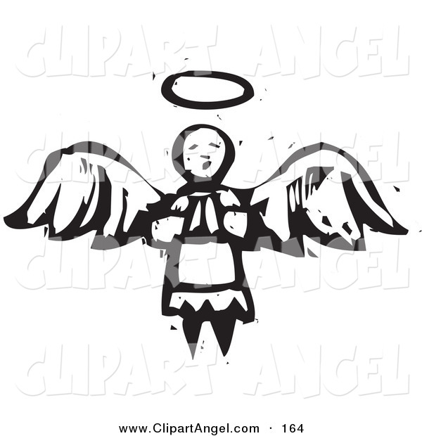 Illustration Vector of an Black and White Carved Praying Angel with Halo and Wings