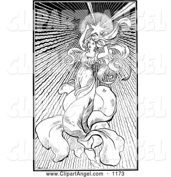 Illustration Vector of an Black and White Star Angel Woman
