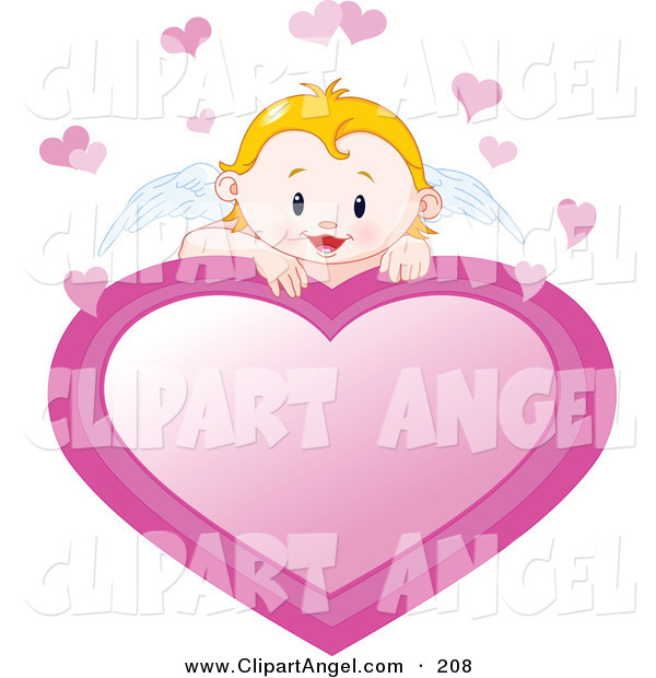 Illustration Vector of an Blond Cupid Baby with White Angel Wings Looking over a Pink Heart Sign