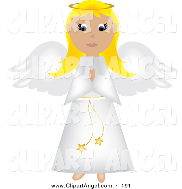 Illustration Vector of an Blond Praying Angel in a White Robe, with White Wings and a Golden Halo