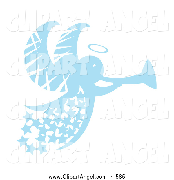 Illustration Vector of an Blue Christmas Angel with Stars and a Horn, on White