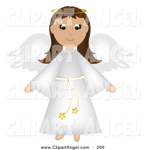 Illustration Vector of an Brunette Christmas Angel in a White Robe with Wings and Halo
