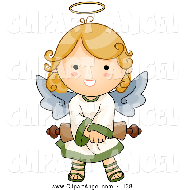 Illustration Vector of an Cute Angel Girl Holding a Rolled Scroll