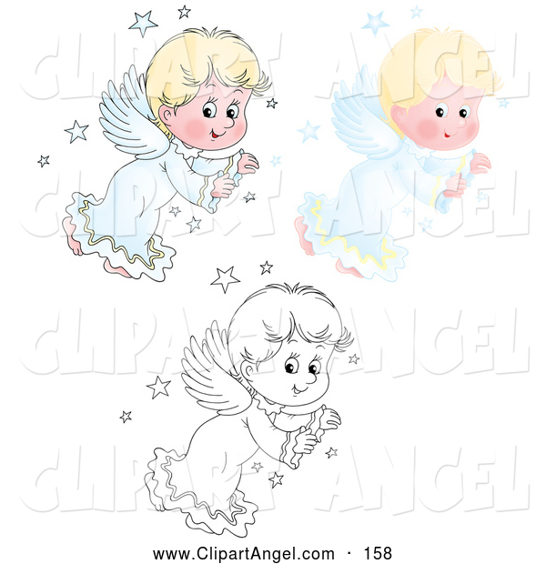Illustration Vector of an Cute Blond Angel with Wings, Shown in Airbrush, and Outline