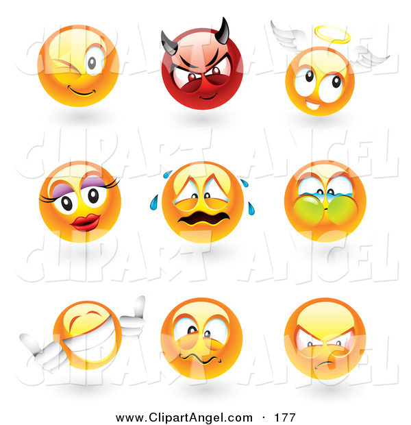Illustration Vector of an Digital Collage of Sphere Emoticon Faces