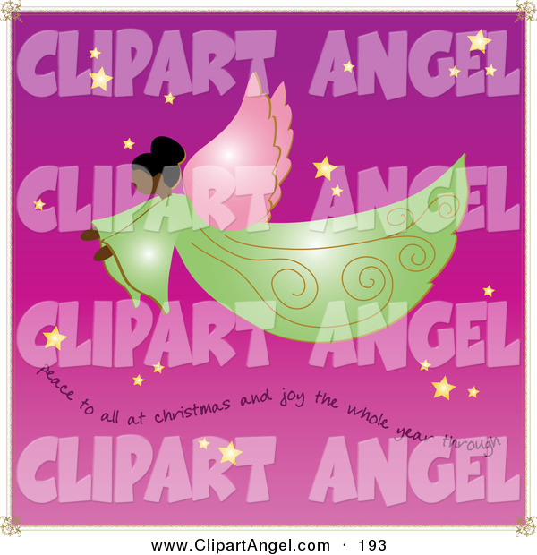 Illustration Vector of an Graceful African American Angel with Wings Flying Through a Purple Starry Sky with Text