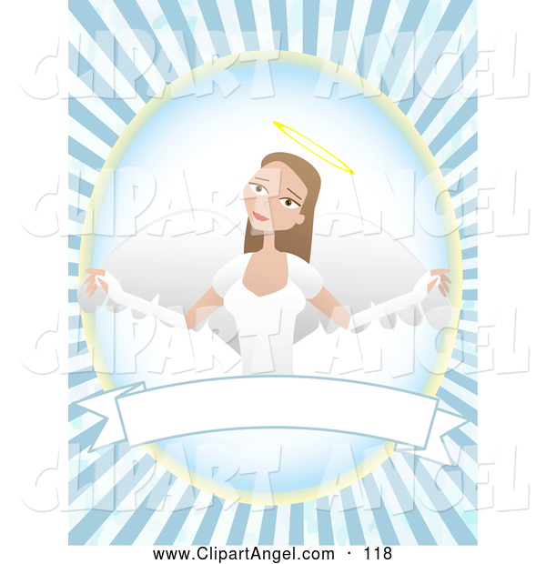 Illustration Vector of an Happy and Pretty Female Angel over a Blank Banner with a Blue Burst