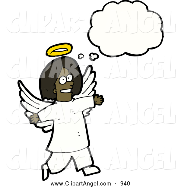 Illustration Vector of an Happy Thinking African American Angel